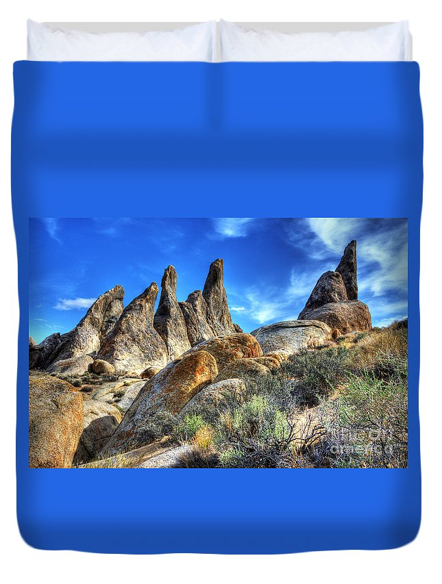 Alabama Hills Duvet Cover featuring the photograph Alabama Hills Granite Fingers by Bob Christopher