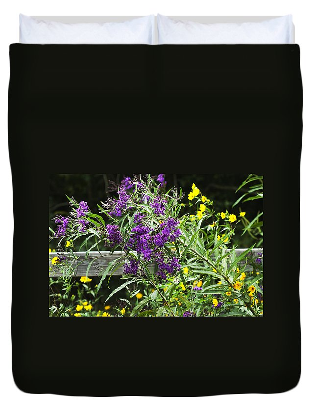 Vernonia Gigantea Duvet Cover featuring the photograph Alabama Purple Ironweed Wildflowers - Vernonia Gigantea by Kathy Clark