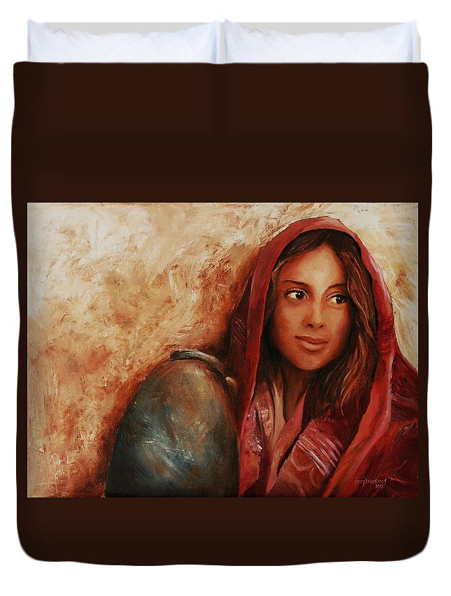 Alabaster Duvet Cover featuring the painting Alabaster by Jun Jamosmos