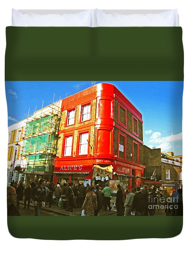 Nottinghill Duvet Cover featuring the photograph Alice's - London by Madeline Ellis