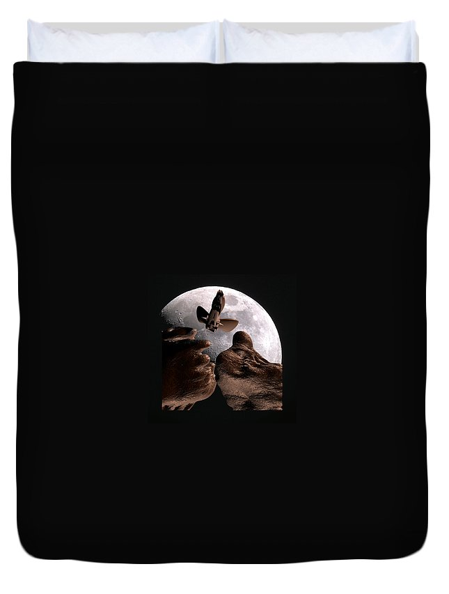 Space Duvet Cover featuring the mixed media Alien view by Robert aka Bobby Ray Howle