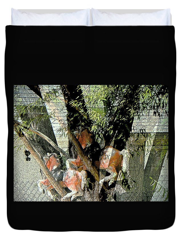 Abstract Duvet Cover featuring the photograph All My Horses Live In Trees by Lenore Senior