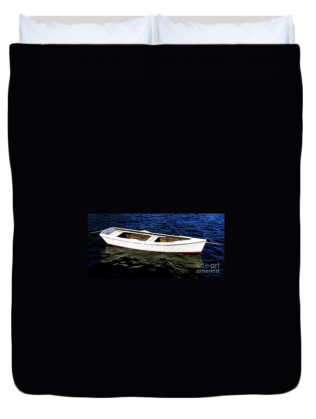 Row-boat Duvet Cover featuring the photograph All Tied Up by Lainie Wrightson