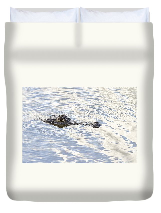 Wildlife Duvet Cover featuring the photograph Alligator With Sky Reflections by Bill Swindaman