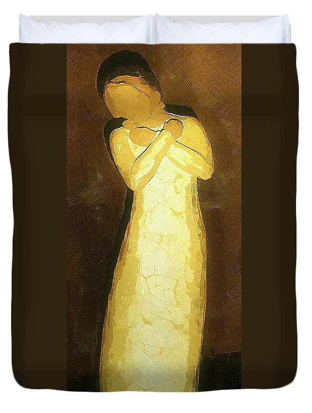 Figure Duvet Cover featuring the painting Almost An Angel by RC DeWinter