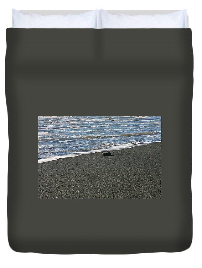 Beach Duvet Cover featuring the photograph Alone by Ralf Kaiser