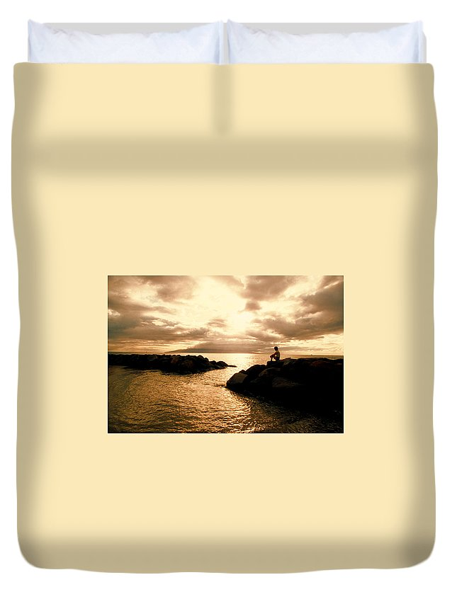 Ocean Duvet Cover featuring the photograph Alone With Your Thoughts by Jerry McElroy