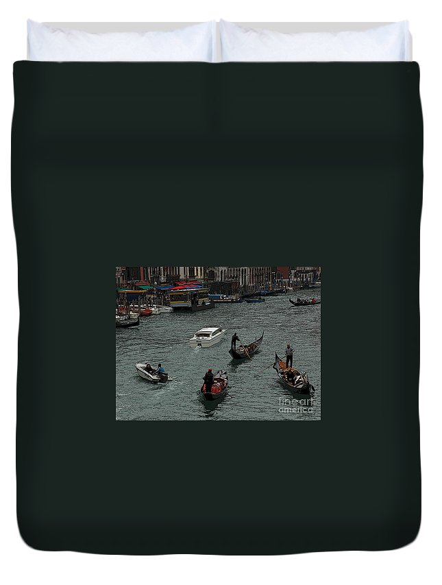 Venice Duvet Cover featuring the photograph Along The Canal by Vivian Christopher