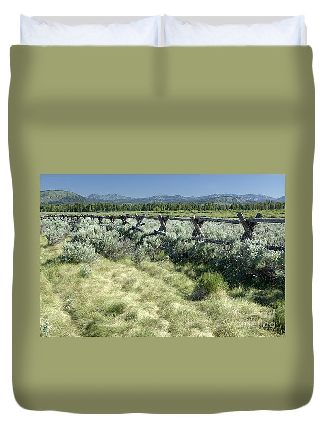 Grand Teton National Park Duvet Cover featuring the photograph Along The Fence by Sandra Bronstein