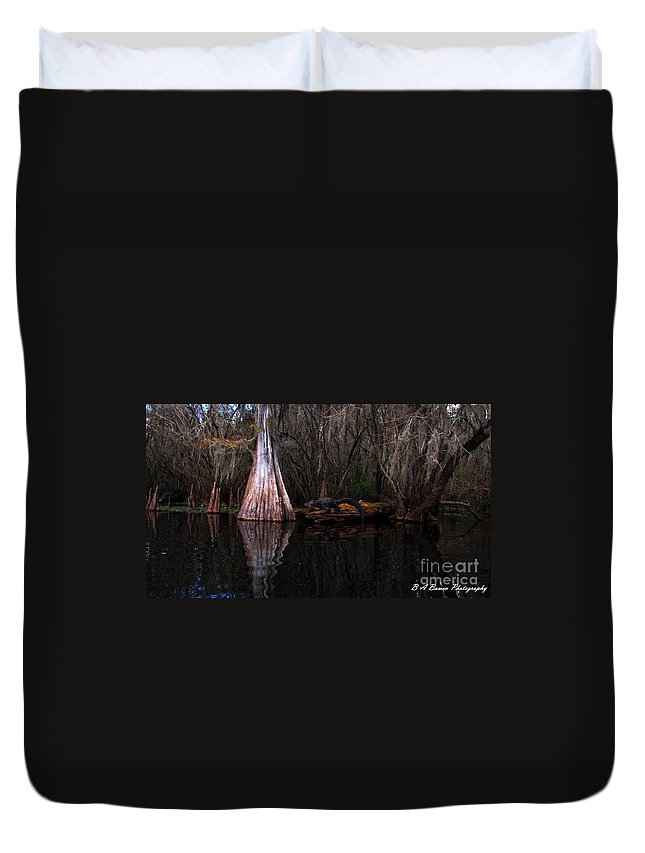 American Alligator Duvet Cover featuring the photograph Along The Hillsborough River by Barbara Bowen