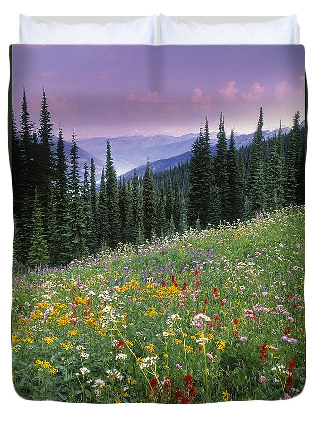 Light Duvet Cover featuring the photograph Alpine Wildflower Meadow, Mount by Darwin Wiggett