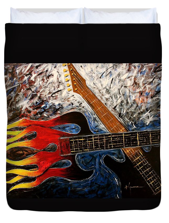 Always About Music Duvet Cover featuring the painting Always About Music by Kume Bryant