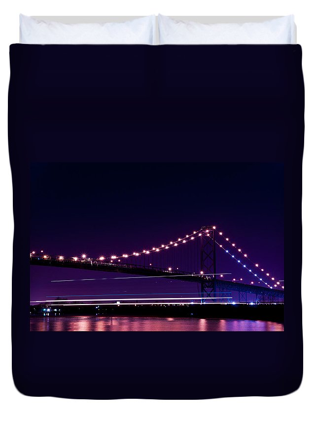 Ambassador Bridge Duvet Cover featuring the photograph Ambassador Bridge by Cale Best