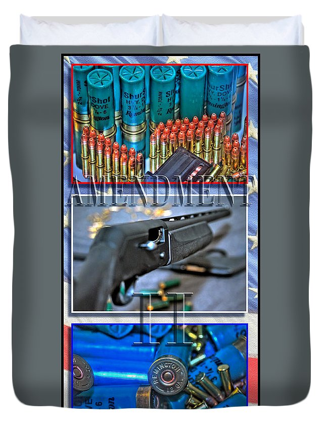 Duvet Cover featuring the photograph Amendment II With Text by Michael Frank Jr