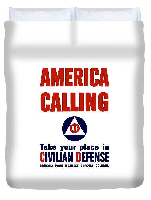 Civil Defense Duvet Cover featuring the painting America Calling -- Civilian Defense by War Is Hell Store