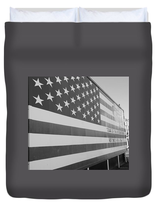 Brooklyn Duvet Cover featuring the photograph American Flag At Nathan's In Black And White by Rob Hans
