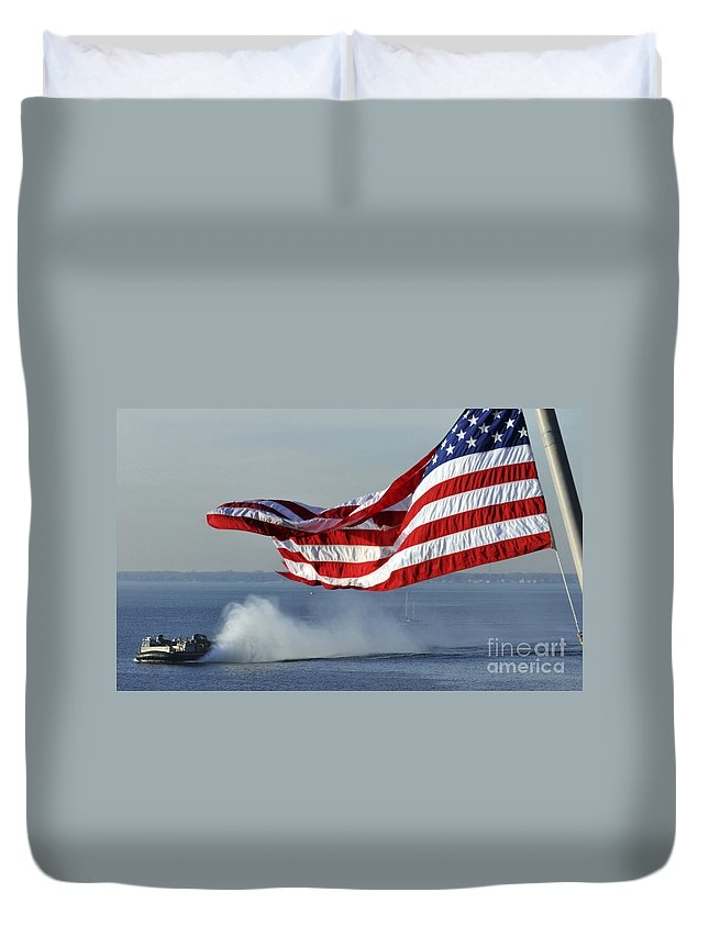 Motion Duvet Cover featuring the photograph American Flag Blowing In The Wind by Stocktrek Images