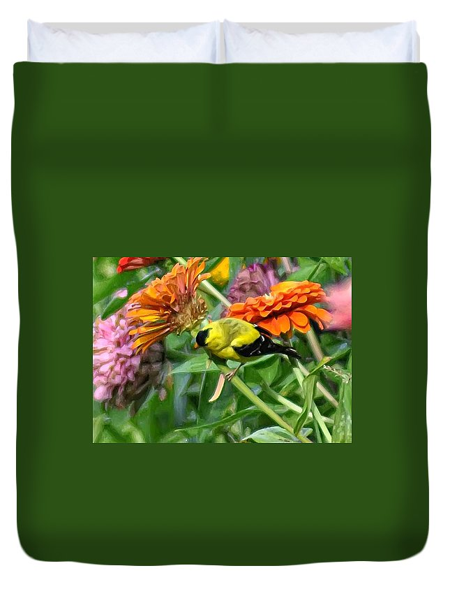 American Goldfinch Duvet Cover featuring the photograph American Goldfinch by Bill Cannon
