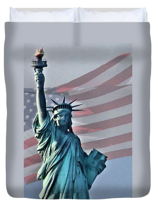Statue Of Liberty Duvet Cover featuring the photograph American Pride by Kristin Elmquist