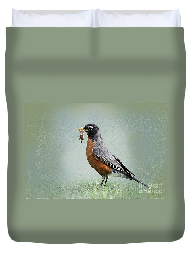 American Robin Duvet Cover featuring the photograph American Robin With Worms by Betty LaRue
