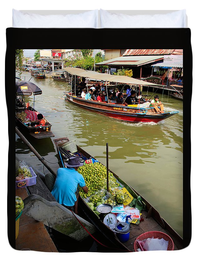 Amphawa Duvet Cover featuring the photograph Ampawa Floating Market by Adrian Evans