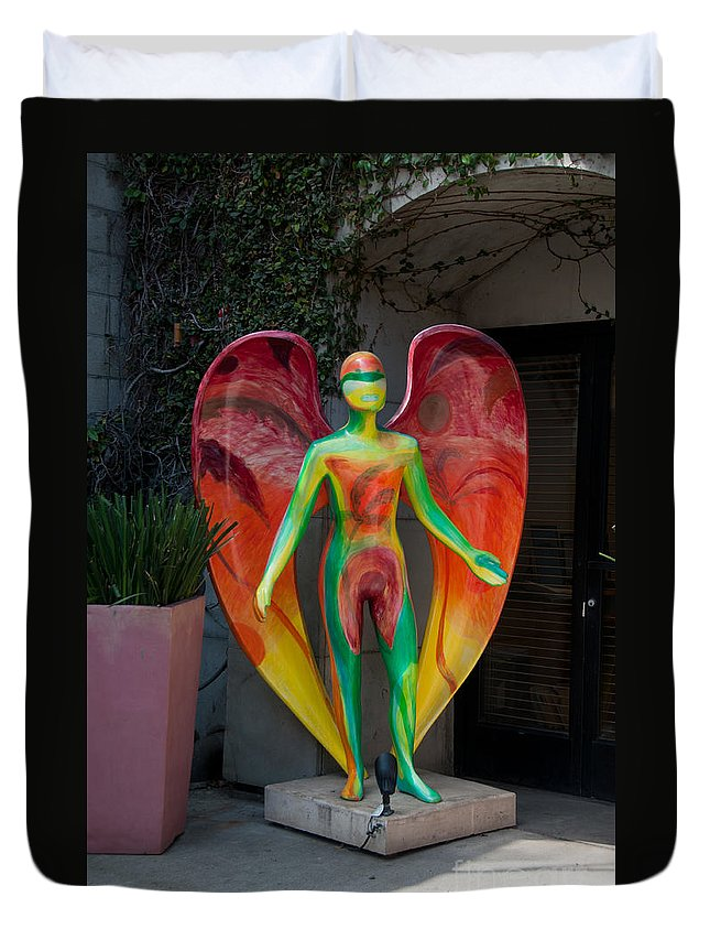 Artistic Sculpture Duvet Cover featuring the digital art An Angel by Carol Ailles