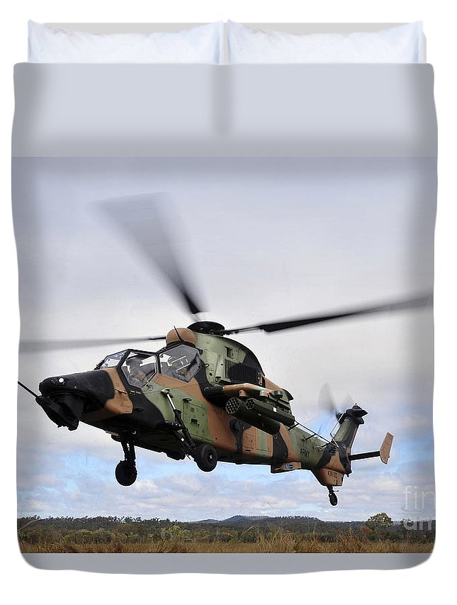Australian Army Duvet Cover featuring the photograph An Australian Army Tiger Helicopter by Stocktrek Images