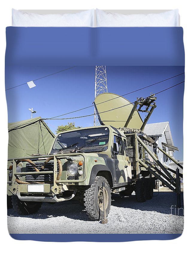 Camp Rocky Duvet Cover featuring the photograph An Australian Defense Force Satellite by Stocktrek Images