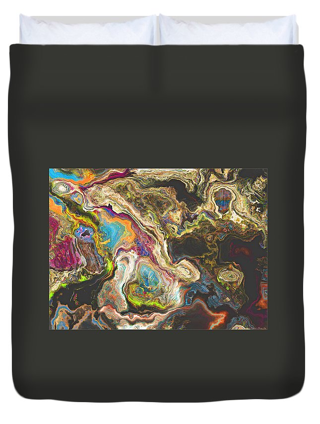 Abstract Duvet Cover featuring the digital art Ancient Cut Stone by Debbie Portwood