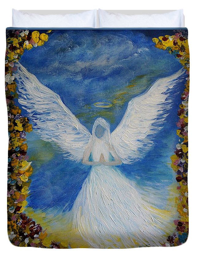 Angel Duvet Cover featuring the painting Angel Among Us by Leslie Allen