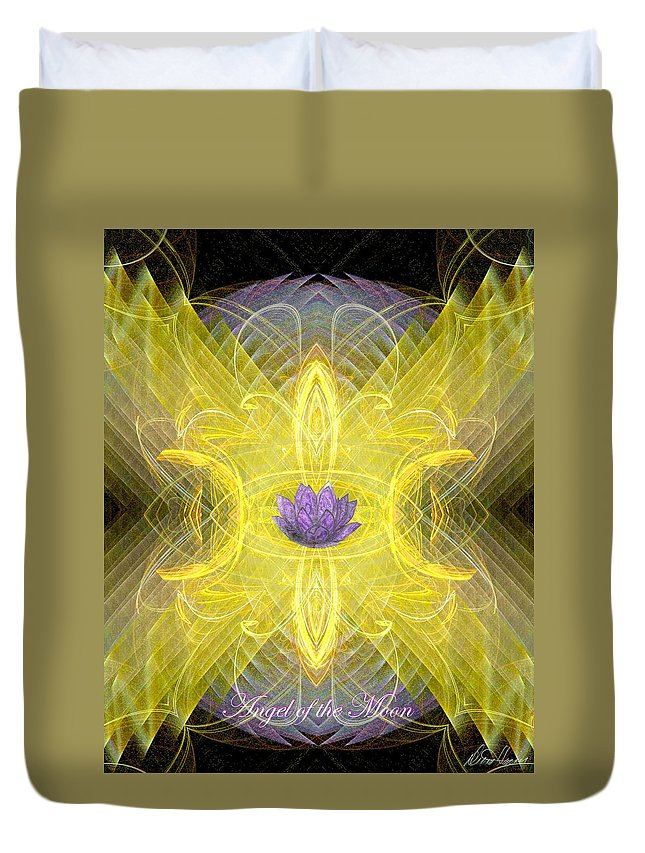 Angel Duvet Cover featuring the digital art Angel Of The Moon by Diana Haronis