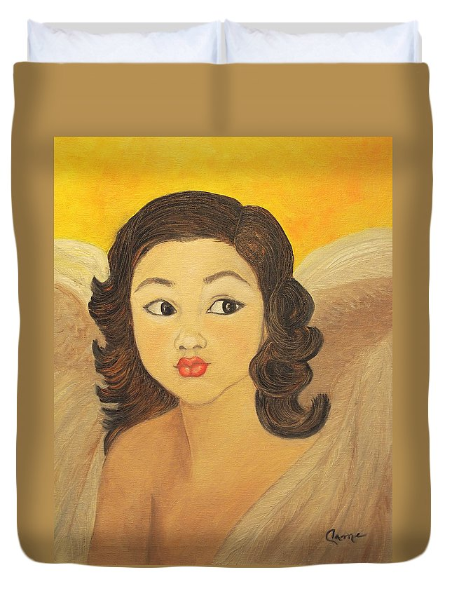 Angel Duvet Cover featuring the painting Angelito Travieso by Veronica Zimmerman