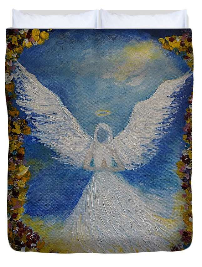 Angel Duvet Cover featuring the painting Angels Prayer by Leslie Allen