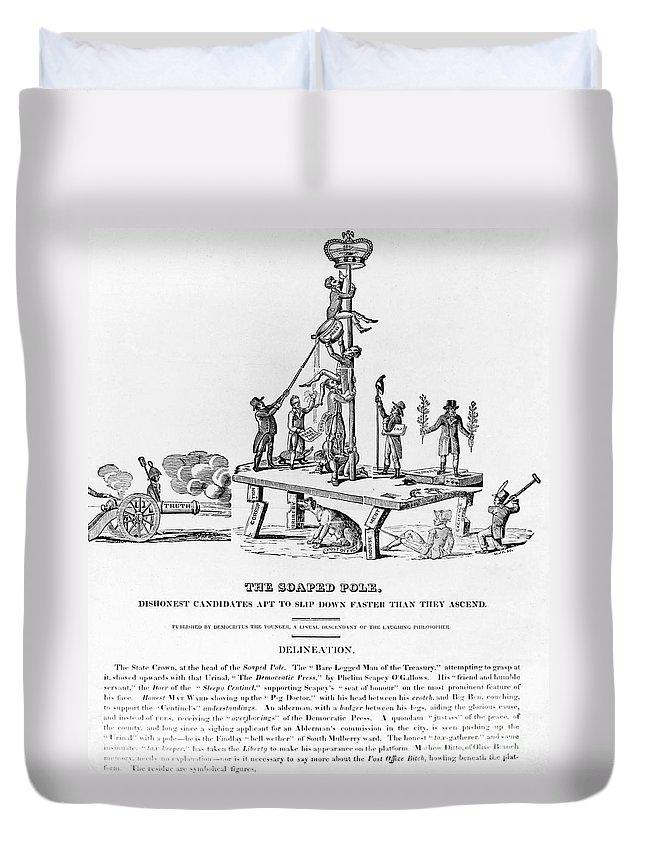 1817 Duvet Cover featuring the photograph Anti-democrat Cartoon by Granger