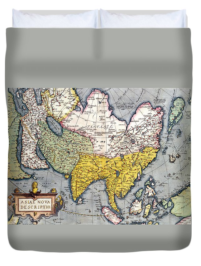 Maps Duvet Cover featuring the drawing Antique Map Of Asia by Claes Jansz