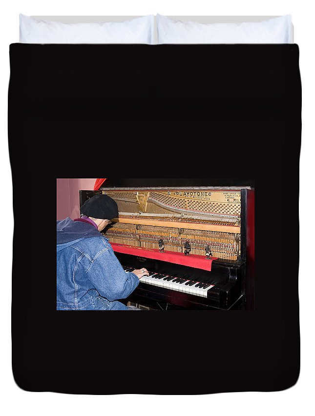 Man Playing 1909 Playtone Piano Converted From Player Style Duvet Cover featuring the photograph Antique Playtone Piano by Sally Weigand