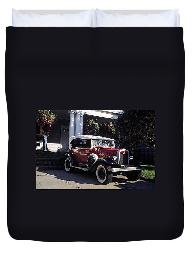 Antique Car Outside House Duvet Cover featuring the photograph Antique Red Convertible by Sally Weigand
