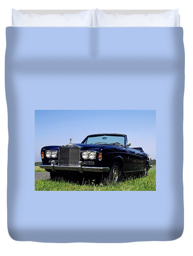 Antique Rolls Royce Convertible Car Duvet Cover featuring the photograph Antique Rolls Royce by Sally Weigand