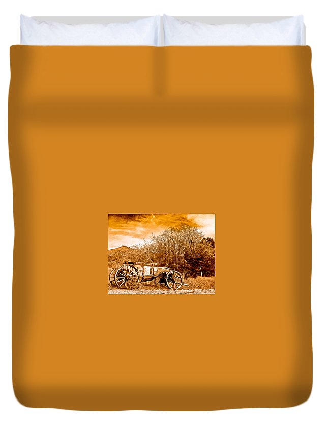 Antique Wagon Duvet Cover featuring the painting Antique Wagon by Bob and Nadine Johnston
