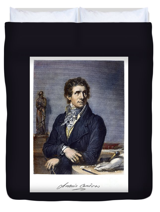18th Century Duvet Cover featuring the photograph Antonio Canova (1757-1822) by Granger