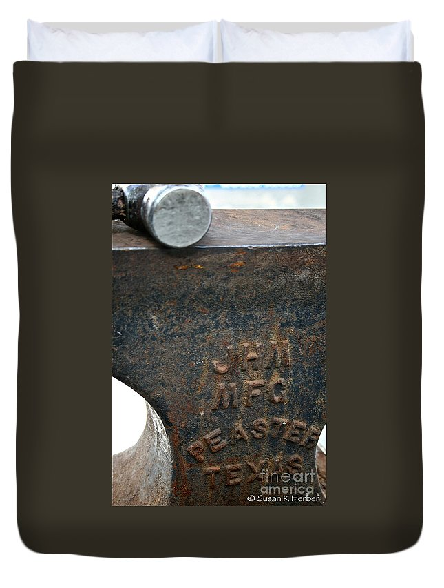 Anvil Duvet Cover featuring the photograph Anvil by Susan Herber