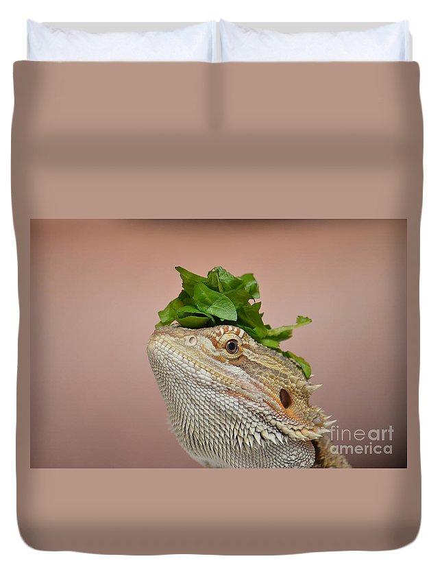 Digital Duvet Cover featuring the digital art Anyone Seen My Salad? by Richard Ortolano