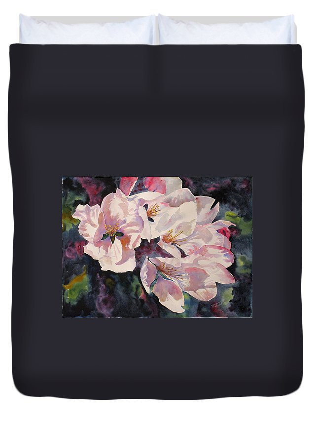 Flowers Duvet Cover featuring the painting Apple Blossoms by Mohamed Hirji