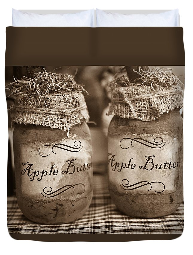 Apple Duvet Cover featuring the photograph Apple Butter in Sepia by Douglas Barnett