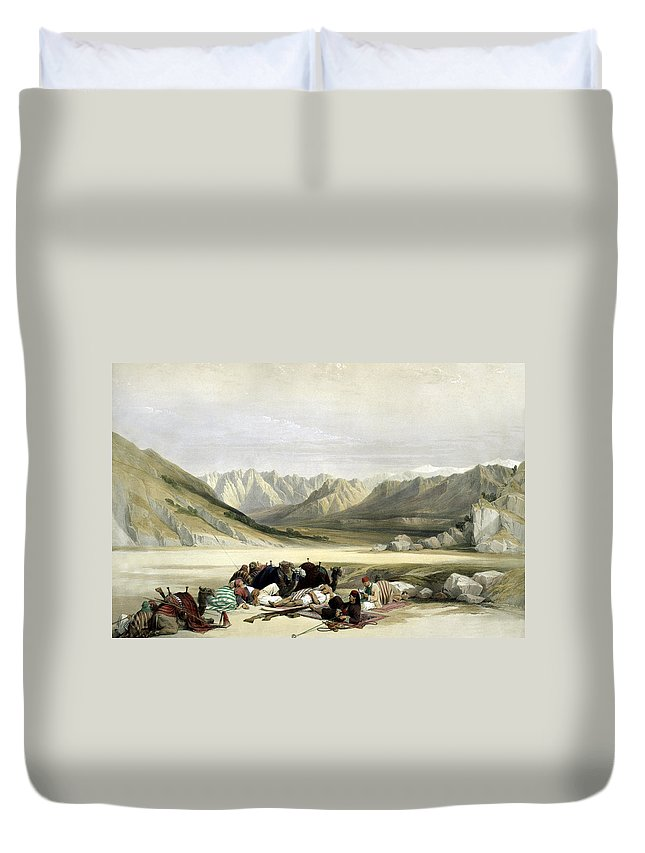 Mount Sinai Duvet Cover featuring the photograph Approach To Mount Sinai Wady Barah Feby 17th 1839 by Munir Alawi