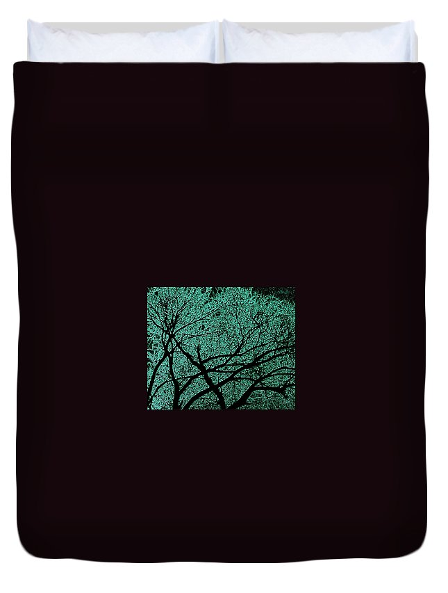 Trees Duvet Cover featuring the photograph Aqua Scrub by Chris Berry