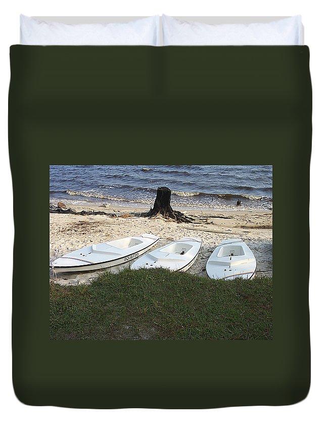 Aqua Duvet Cover featuring the photograph Aquafinn On River Bank by James Harris