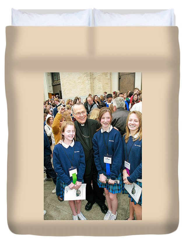 Archbishop Alex Brunett With Students Duvet Cover featuring the photograph Archbishop Alex Brunett by Mike Penney