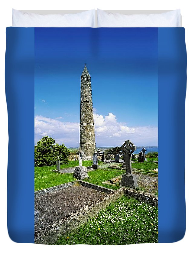 Ardmore Duvet Cover featuring the photograph Ardmore Round Tower, Ardmore, Co by The Irish Image Collection