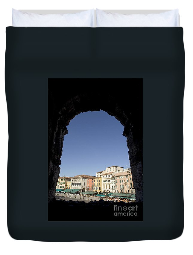 Images Duvet Cover featuring the photograph Arena Arch Verona by Alex Rowbotham